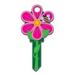 House Key, Schlage, Flower, Brass, Enamel Coating, 1 each per Card