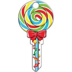House Key, Schlage, Lollipop, Brass, Enamel Coating, 1 each per Card