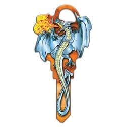 House Key, Schlage, Dragon, Brass, Enamel Coating, 1 each per Card