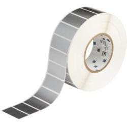 """Weather Resistant Labels, Gloss, 1"""" H x 2"""" W, Polyester, Thermal Transfer, Silver, 3,000 Per Roll"""
