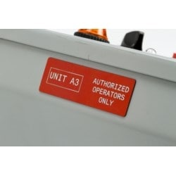 """Raised Panel Labels, Gloss, Foam Backed, 2.5"""" H x 2"""" W, Polyester, Thermal Transfer, Red, 50 Per Box, RoHS Compliant"""