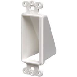 Reversable non metallic cable entrance hood for existing cables. Single Gang. Color White. Decorator Device Style. Includes two #6 screws.