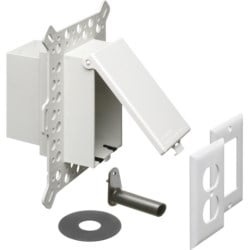 Low Profile Inbox for new construction for stucco, textured and rigid siding. Vertical with weatherproof while in use. Extra Duty white paintable cover.