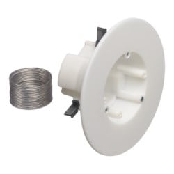 """CAM-LIGHT box for suspended ceilings. Non-metallic, 27.0 cu. Rated up to 50lb on suspended ceiling or drywall in combination with dropwire. Installs with 4"""" hole saw. Rated 10lbs on drywall ceilings without dropwire. Rated 7lbs on walls. Box has 1/2"""" a  nd"""