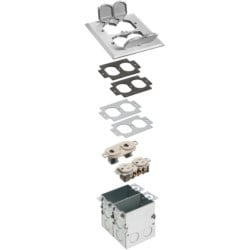 A combination floor box kit with installed low voltage devider. Includes four flip lids and gasket, One duplex receptacle and one low voltage duplex plate. Nickel.