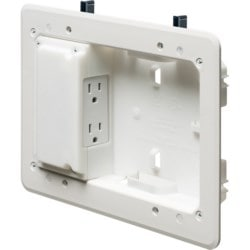 """Low Profile non metallic TV BOX kit. For a flush to the wall installation as shallow as 3/4"""". For new or old construction. Fits also on 2x2, 2x3 and 2x4 studs. Box Only."""