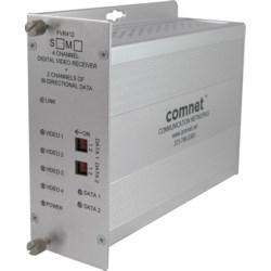 4-channel Digitally Encoded Video Receiver + 2 Bi-directional Data Channels, SM, 1 Fiber