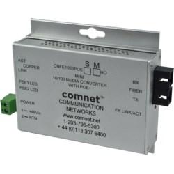 "Ethernet Media Converter, A-Unit, Industrial, 1-Fiber, Multimode, SC, 100 Mbps Ethernet, 48 to 57 Volt DC, 4"" Length x 3.7"" Width x 1"" Height, With 30 Watt PoE+, Mini"