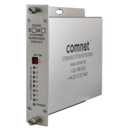 "Contact Closure Transmitter, 8-Channel, 1-Fiber, 1-Rack Slot, Multimode, 62.5/125 Micrometer Fiber, 16 Kilometer, 16 dB, 8 to 15 Volt DC, 6.1"" Width x 5.3"" Depth x 1.1"" Height"