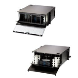4U rack mount fiber cabinet for combination patch/splice applications