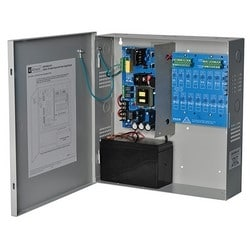 Power Supply Charger, 16 PTC Outputs, 12VDC @ 10A, 115VAC, Supervision, BC300 Enclosure