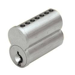 Cylinder Lock Interchangeable Core, Small Format, 7-Pin, H Keyway, Uncombinated, Barrel Cap, Solid Brass, Satin Chrome