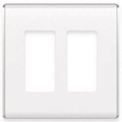 """Wall Plate, Decorator, In-Wall, 2-Gang, 4.97"""" Width x 0.28"""" depth x 4.97"""" Height, High Impact Flame Retardant Plastic, White"""