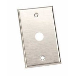 "Pushbutton Plate, Standard, 1-Gang, 2-3/4"" Width x 4-1/2"" Height, Stainless Steel, For 620 and 690 Series 5/8"" Pushbutton"