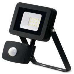 10W LED Floodlight +PIR, IP44, Aluminium, 4000k, Black