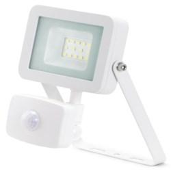 10W LED Floodlight +PIR, IP44, Aluminium, 4000k, White