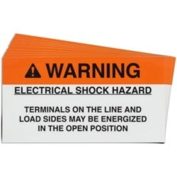 "Pre-Printed Solar Open Position Warning Labels, 2""X3.75"" Vinyl, 25 Pack"