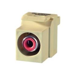 Keystone Insert, Audio/Video, RCA to RCA, Red Insulator, Light Almond