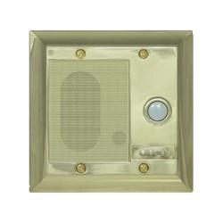 "Broadcast Intercom Door Unit, Weather Resistant, Cat 5 Cable, 2 Watt, 16 Kilohertz, 8 Ohm, 4.75"" Width x 1.5"" Depth x 4.75"" Height, Shiny Brass"
