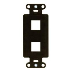 "Decorator Outlet Strap, 2-Port, Keystone Insert Plug, 1.65"" Width x 0.28"" Depth x 4.19"" Height, ABS Plastic, Brown"