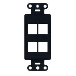 "Decorator Outlet Strap, 4-Port, Keystone Insert Plug, 1.65"" Width x 0.28"" Depth x 4.19"" Height, ABS Plastic, Black"