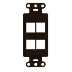 "Decorator Outlet Strap, 4-Port, Keystone Insert Plug, 1.65"" Width x 0.28"" Depth x 4.19"" Height, ABS Plastic, Brown"