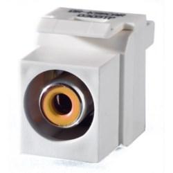 Keystone Insert, Audio/Video, RCA to RCA, Yellow Insulator, White