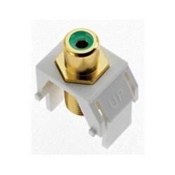 "Keystone Insert, Audio/Video, RCA to F Connector, 0.87"" Length x 0.67"" Width x 1.2"" Depth, ABS Plastic, White, Green Inner Barrel"