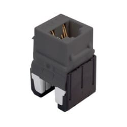 """Keystone Insert, Quick-Connect, Cat 6A, RJ45, 8P8C, 24 to 22 AWG Wire, 0.665"""" Width x 1.21"""" Depth x 0.76"""" Height, ABS Plastic, Gray"""