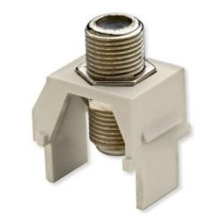 "Keystone Insert, Non-Recessed, Coax, Video, Nickel F Connector, 1 Gigahertz, 0.87"" Length x 0.67"" Width x 1.2"" Height, ABS Plastic, Light Almond, 50 per Bulk Pack"