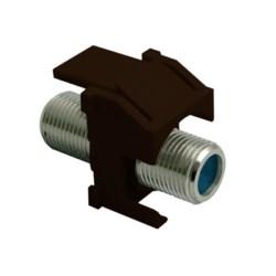 "Keystone Insert, Recessed, Coax, Video, Nickel F Connector, 3 Gigahertz, 0.87"" Length x 0.67"" Width x 1.2"" Height, ABS Plastic, Brown"