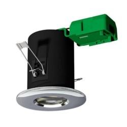 Fireguard Showerlight, IP65, Recessed, Mains, 50W, Unlamped, Chrome
