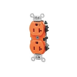 20 Amp, 125 Volt, Industrial Series Heavy Duty Specification Grade, Duplex Receptacle, Straight Blade, Isolated Ground - Orange