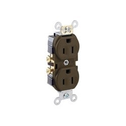 15-amp, 125-volt, Narrow Body Duplex Receptacle, Straight Blade, Commercial Grade, Self Grounding, Side Wired, Brown