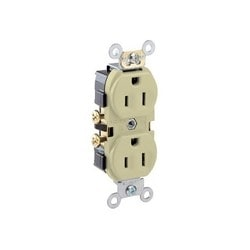 15 Amp, 125 Volt, Narrow Body Duplex Receptacle, Straight Blade, Commercial Grade, Self Grounding, Side Wired - Ivory