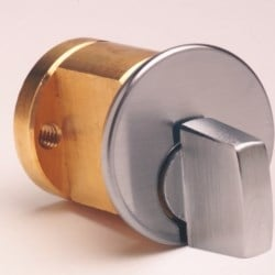 """Rim Cylinder, Turn Knob, Horizontal/Vertical Tailpiece, 1-1/8"""" Length, Duracolor Brown Aluminum, With Trim Ring/Mounting Plate/Break Off Screw"""