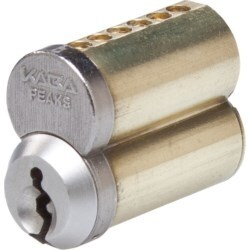 Cylinder Lock Interchangeable Core, Peaks Preferred, 150 7-Pin, Uncombinated, PK4 Keyway, Small Format, Capped, Satin Chrome