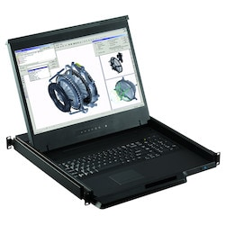 """LCD Console Drawer 1U 19"""" Widescreen 1440 x 900 native resolution, Screen, Keyboard, touchball mouse"""