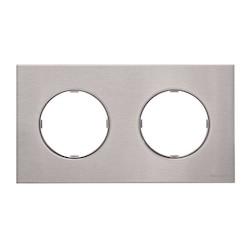 8672 O x - Frame 2-gangs - Stainless Steel