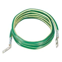 192 in. (4.88 m) length; #6 AWG green wire with yellow horizontal stripe; pre-terminated