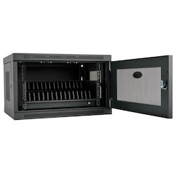 16-Device USB Charging Station Cabinet with Sync for iPad and Android Tablets, Wall-Mount Option, Black