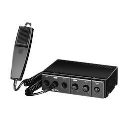 Mobile Mixer Amplifier, 14 Volt DC Input, 30 Watt Output, 100 to 10000 Hertz, 178 MM Width x 144 MM Depth x 50 MM Height, ABS Plastic Black Panel