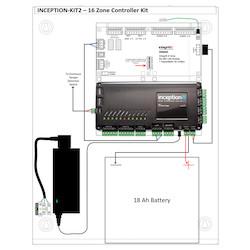 1 x INCP-996300EU - the Inception Controller, 1 x INTG-995201I - Enc-Medium Integriti Un-powered Enclosure and 1 x INTG-996005PCBKIT - Integriti - 8 Zone LAN Expander, PCB only