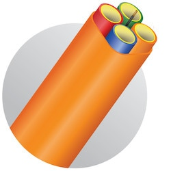 MicroDuct, FuturePath, HDPE/OSP, 8.5mm OD, 6mm ID, 4-Way, Orange, With Tracer Wire