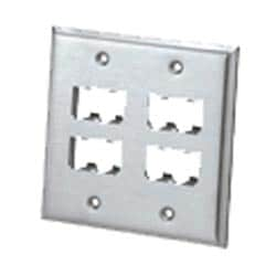 Faceplate, 8 Port, Double Gang, Stainless Steel