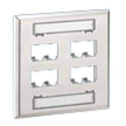 Faceplate, 8 Port, Vertical, Double Gang, Stainless Steel