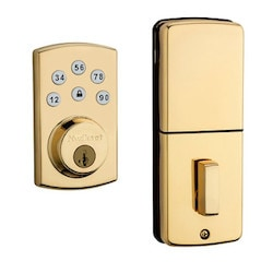 Door Electronic Deadbolt, Powerbolt, Smartcode, Single Cylinder, Touchpad, Lifetime Polished Brass