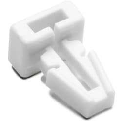 "Push-Button Cable Tie Mount, .25"" Hole Dia, .13"" Max Panel, .2"" Max Tie Width, PA66, White, 1000/pkg"