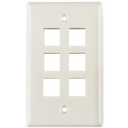 Standard Single Gang 6 Port Faceplate, ABS 94V-0, Office White, 1/pkg