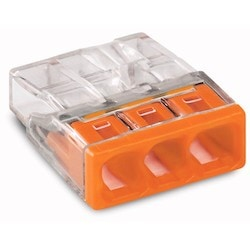 COMPACT PUSH WIRE Connector For Junction Boxes; 3-conductor Terminal Block; Transparent Housing; Orange Cover